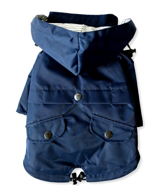 Ellie Dog Wear Navy Raincoat Back1