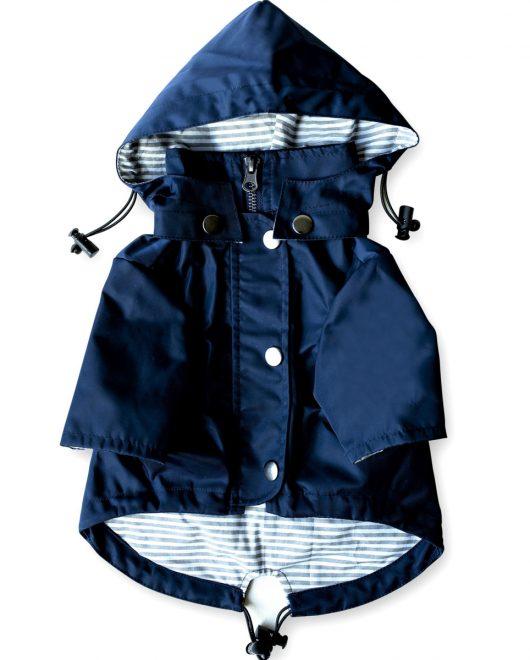 Ellie Dog Wear Navy Raincoat Front1